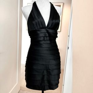 BCBG black halter mini dress LBD